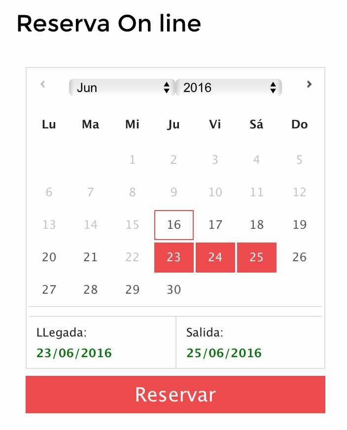 widget calendario reservas con disponibilidad